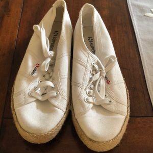 Superga white tie up shoes